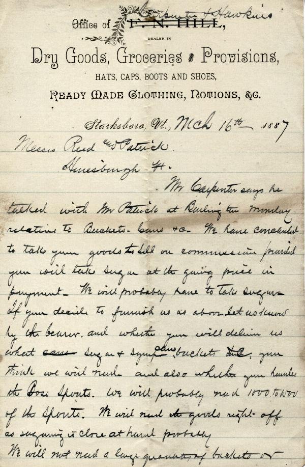 Bertha Hawkins >> Carpenter and Hawkins General Goods Starksboro, Vermont (VT) Letter Pg. 1