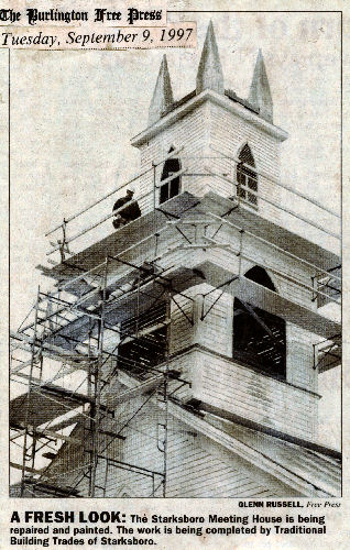 photo from the Burlington Free Press dated September 9, 1997 of the steeple restoration of the Starksboro Village Meeting House, Starksboro, Vermont